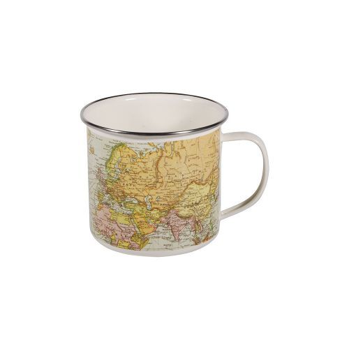 This Vintage Map Enamel Mug from our map range, is an enamel-coated tin mug with stainless steel rim.