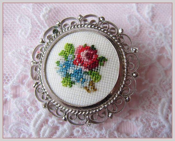 Vintage Petit Point Brooch Cross Stitch Flowers in door gradyladies
