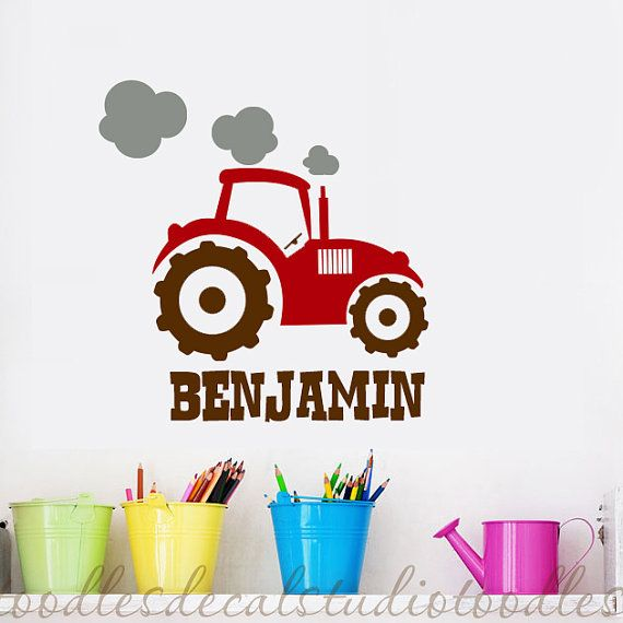 Tractor Wall Decal - Nursery name vinyl wall sticker art 02 on Etsy, £19.81