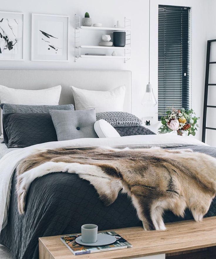 Stunning charcoal, grey and white toned master bedroom. Photo by @oh.eight.oh.nine