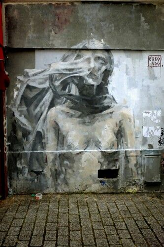 Borondo - street art - paris 20, rue Lemon (juin 2013)