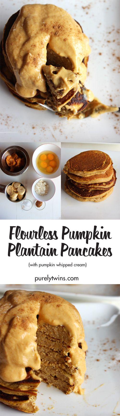 Healthy simple pumpkin plantain pancakes: moist, light, and fluffy! Full of pumpkin flavor and with just the right amount of spice! A cozy fall breakfast. Made with pumpkin puree, plantains, and eggs these waffles are moist, fluffy and ready to be topped with your 4 ingredient pumpkin whipped cream. A gluten-free grain-free paleo pancake recipe.
