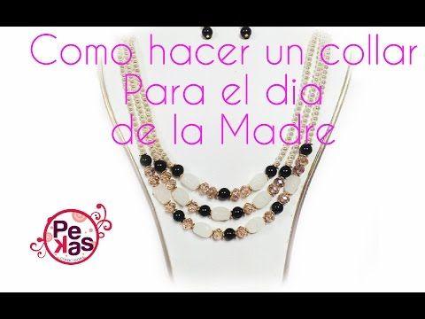 Como hacer un elegante Collar de Perla y Cristal para el Dia de la Madre : Pekas Creaciones - YouTube