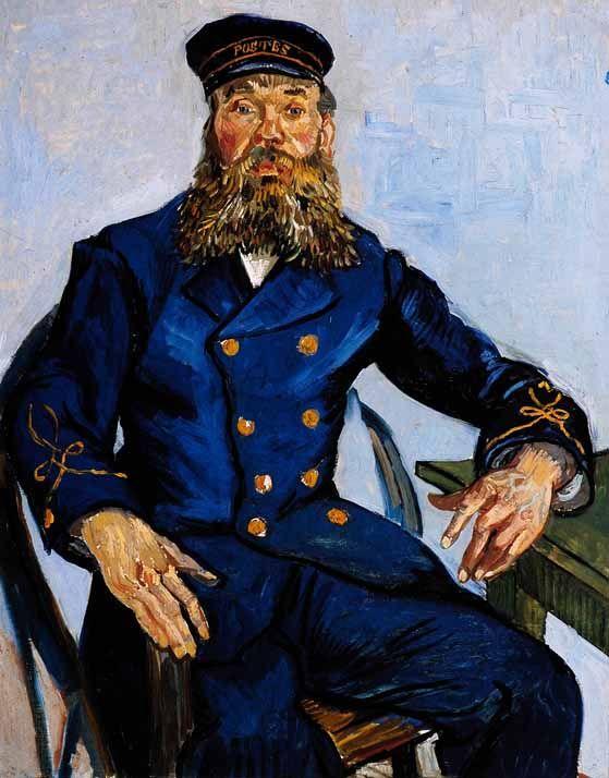 """Van Gogh e Roulin conheceu no café Ginoux de la Gare Em 31 de julho, ele escreveu à sua irmã Wil: """"Eu estou fazendo um retrato de um uniforme azul com fator FONCE amarelo. Uma cabeça muito semelhante ao de Sócrates, quase nenhum nariz, uma testa grande, cabeça calva, pequenos olhos cinzentos, bochechas cheias, colorido, de alta sal e pimenta barba, orelhas grandes. O homem é um republicano e socialista terrível; raciocina muito bem e sabe muito."""
