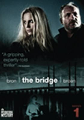 Bron The bridge = Broen. Series 1 (DVD) : A woman is found murdered in the middle of the Oresund Bridge, on the border between Sweden and Denmark. Police from both countries are called to the scene, and what looks like one murder turns out to be two. It's a spectacular double murder: the bodies have been brutally cut in half at the waist and put together to form a single corpse. It's also just the beginning of a wave of violence the likes of which no one has ever seen before.