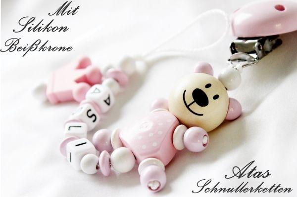 ★ Schnullerkette mit Namen ☆ Mädchen ★ Teddy Geschenk Geburt Nuckelkette ★