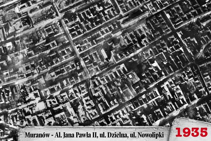 Year 1935 - aerial view over Muranow - the Jewish quarter in Warsaw, Poland
