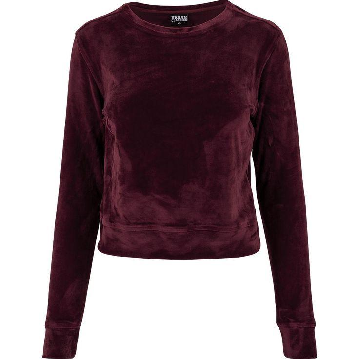 """Urban Classics Sweatshirts, Vrouw """"Ladies Short Velvet Crew"""" burgundy • online bestellen • Large"""