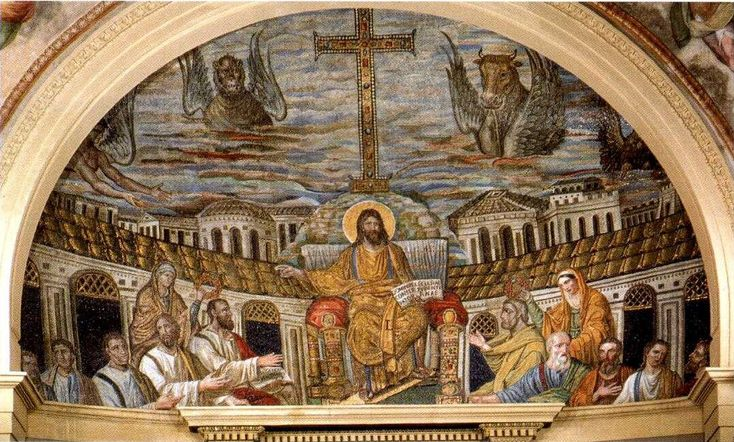 Jesus enthroned with apostles in heavenly Jerusalem mosaico di santa pudenziana c. 400 AD - altered in C16th below Jesus was an agnus dei and 4 rivers of paradise