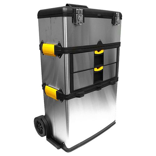 Trademark Global, Inc. Massive and Mobile 3-part Stainless-Steel Tool Box