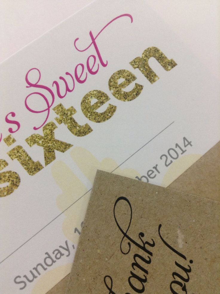 Custom designed Sweet 16 birthday invitation with faux glitter gold lettering and hot pink text, bold yellow features and customer's own photo ❤