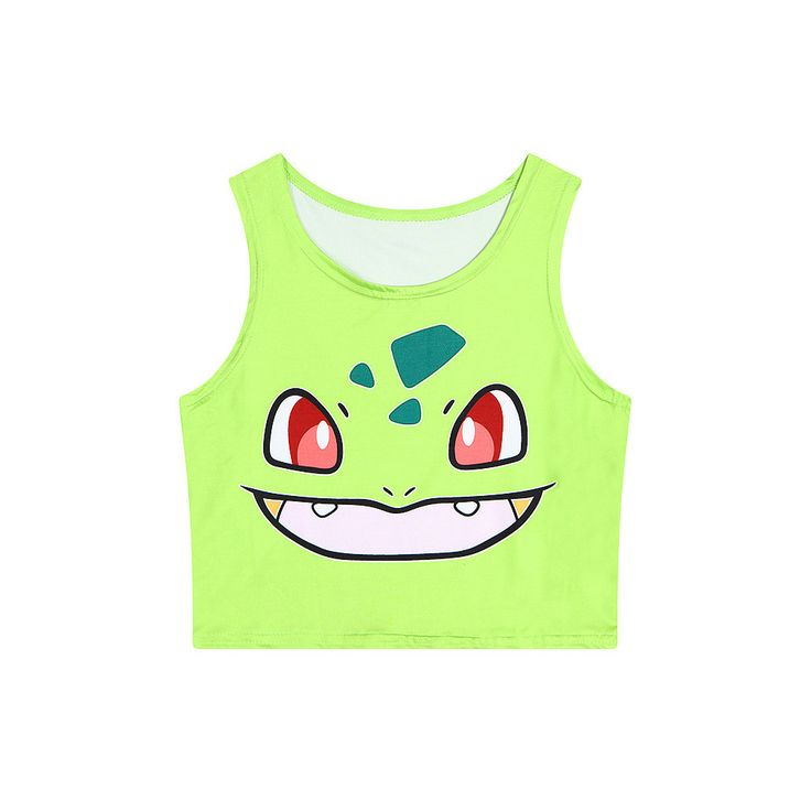 New Hot Cute Pokemon Go Cartoon 3D Print Crop Tops Squirtle/Pikachu/Bulbasaur Colorful Bustier 2016 Sexy Women Slim Tank Top