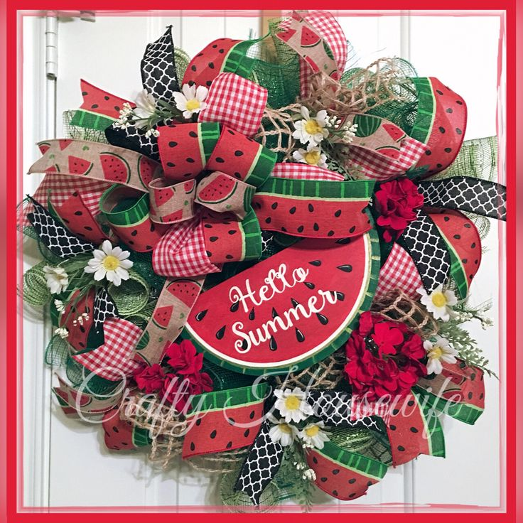 A personal favorite from my Etsy shop https://www.etsy.com/listing/539423171/watermelon-hello-summer-wreath