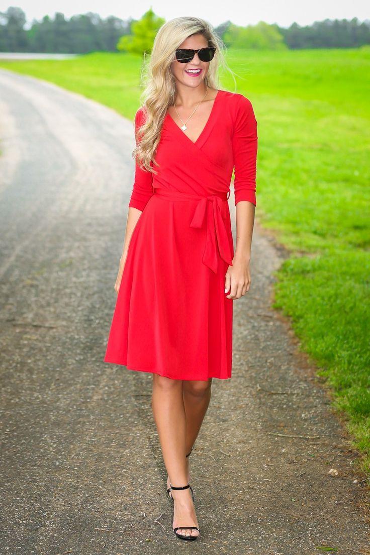 Kate Scarlet Red Long Sleeve Dress at reddressboutique.com