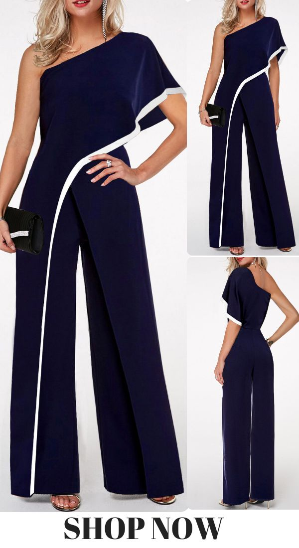 USD27.48   Navy Blue One Shoulder Contrast Trim Jumpsuit, #freeshipping worldwide and easy returns, #coupons $6 off over $60, $9 off over $90, code: liligal2019. Click and find the 2019 #jumpsuit fashion trends in #liligal.