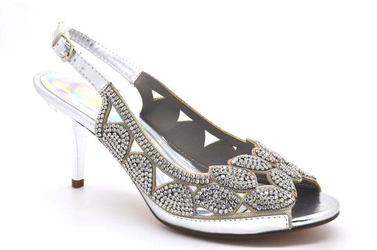 Mid Heel Peep Toe Slingback Evening Diamante Sandal with Metal Heel.