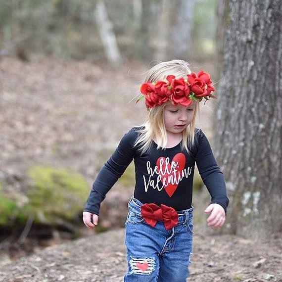 Hello Valentine kids leotard girls valentine by SweetPeonyBoutique