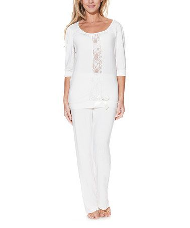 Look what I found on #zulily! Cream Lace-Front Pajama Set #zulilyfinds