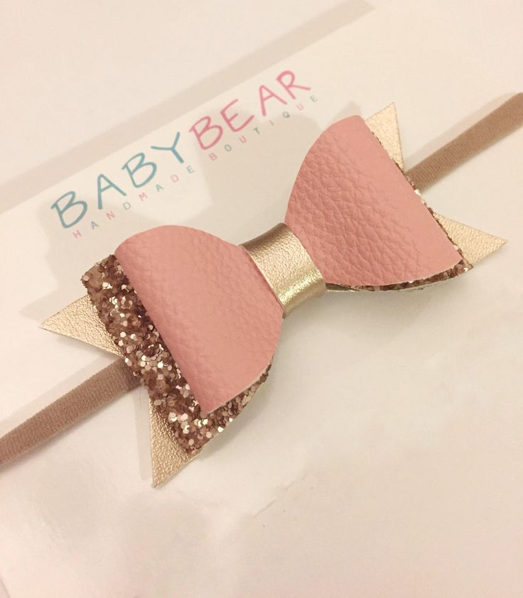 Pink and Gold Bow, Leather Bow, Glitter Bow, Hair Bow, Baby Headband, Toddler Hair Clip, Girls Hair Accessories, Baby Bow, Toddler Bow, by BabyBearHandmadeB on Etsy https://www.etsy.com/ca/listing/550907201/pink-and-gold-bow-leather-bow-glitter