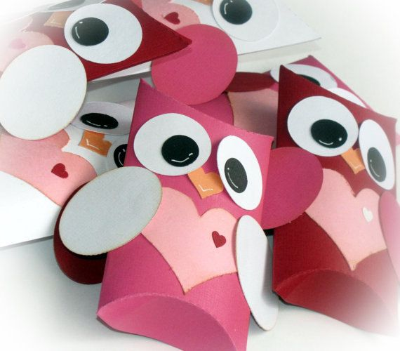 Owl Love Pillow Treat Boxes Valentine's Day Birthdays Baby Shower Red Pink White Set of 12. $12.99, via Etsy.