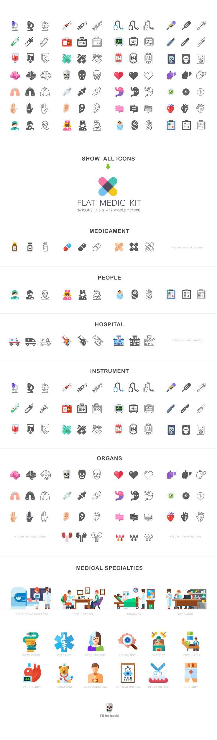Flat medic icon and illustration kit on Behance