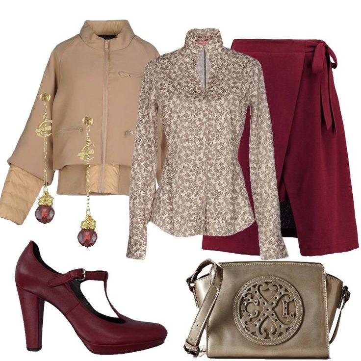Un+outfit+semplice+e+gradevole+:+gonna+bordeaux+a+campana+lunghezza+al+ginocchio,+da+annodare+lateralmente,+abbinata+a+camicia+beige+in+fantasia+cachemire,+collo+a+v+e+scollo+a+goccia.+Bomber+imbottito+color+sabbia,+collo+alto,+monopetto,+zip,+multitasche,+in+doppio+tessuto.+Décolleté+mattone+in+pelle,+con+cinturino+alla+caviglia,+punta+tonda,+tacco+a+cono+e+plateau.+Borsa+a+tracolla+argento+e+orecchini+pendenti+completano+l'outfit.