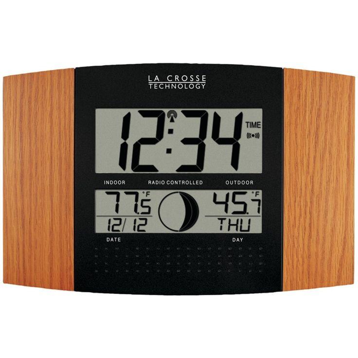 La Crosse Technology Digital Atomic Clock (outdoor Temperature; Oak Wood Finish)