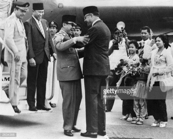 January 01, 1963License  President Ayub Khan of Pakistan (pictured on the right) greeting President Sukarno of Indonesia at the foor of the aircraft as he arrives at Karachi Airport for his official visit to Pakistan. Original Publication: People Disc - HL0163Less