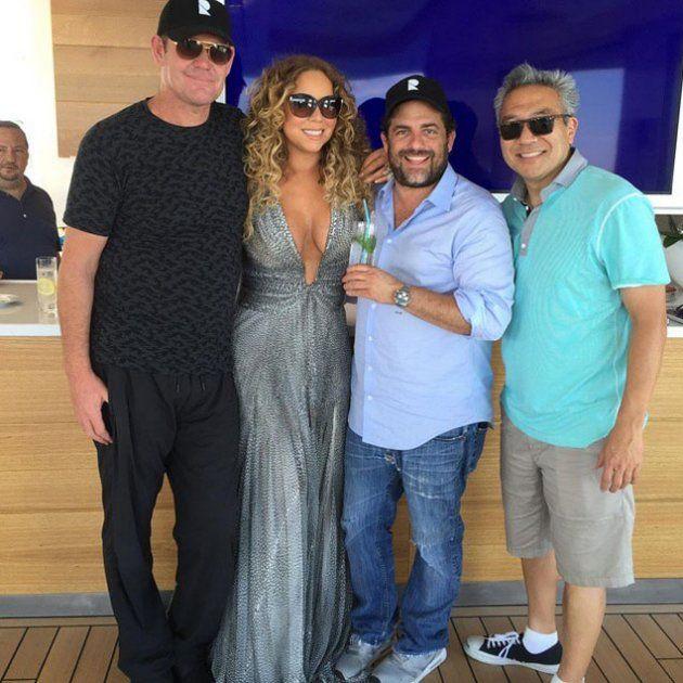 Mariah with James Packer, Brett Ratner, and Kevin Tsujihara (Instgram)