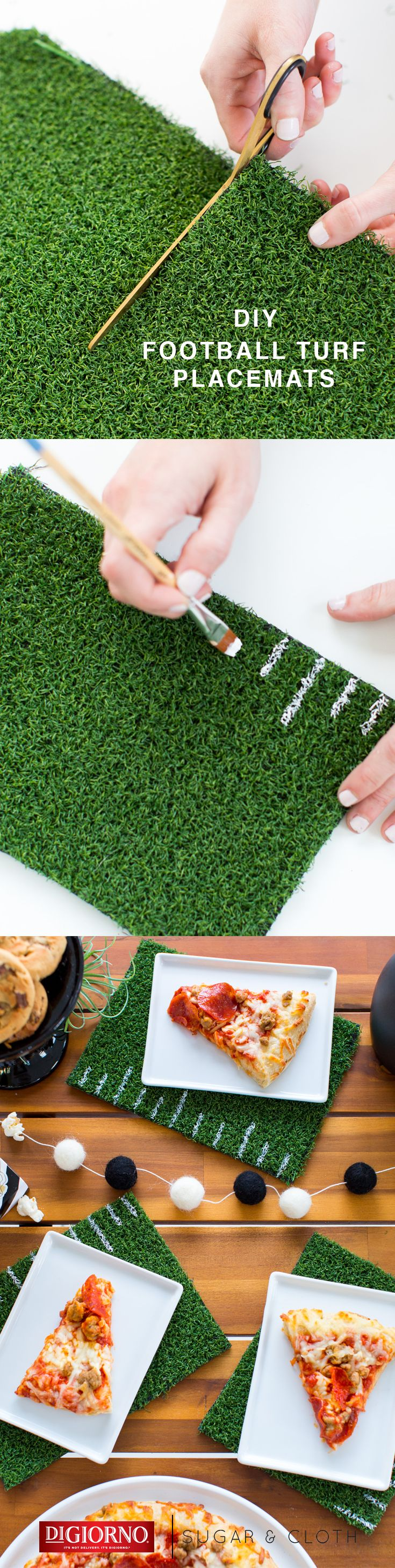 Take your football tailgate up a notch with these DIY turf placements from our partner, @SugarAndCloth. Supplies: DIGIORNO Original RISING CRUST pizza, astro turf, scissors, paint brush, white craft paint. 1. Cut astro turf to rectangular size of choice. 2. Use thin paint brush and white paint to add lines and yard numbers along edge(s). 3. Bake DIGIORNO Original RISING CRUST pizza per instructions. 4. Cut into slices and serve on plates, atop new placemats; enjoy!