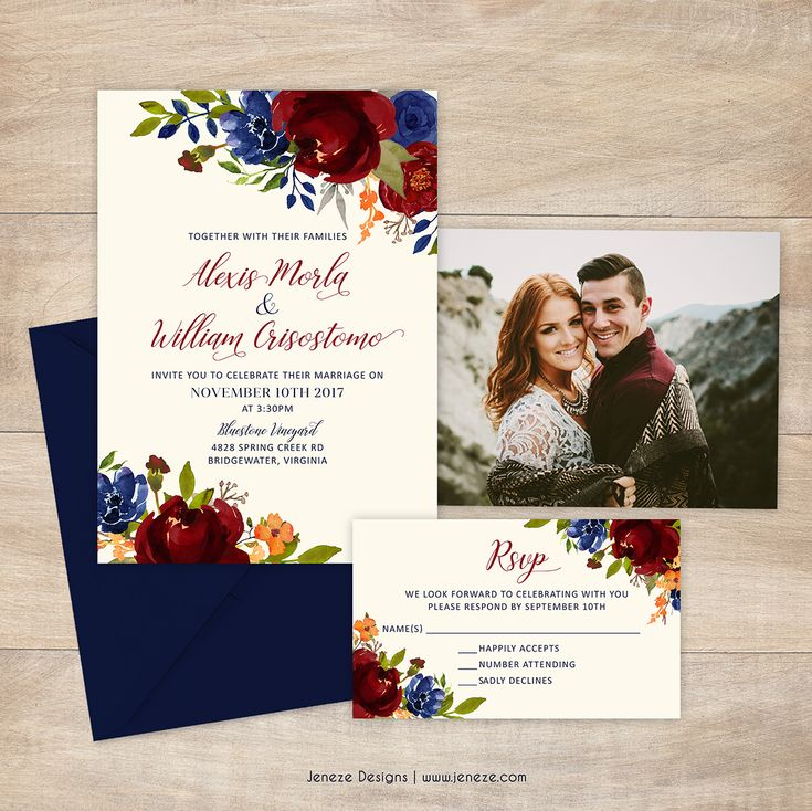 summer wedding invitation wording%0A Wedding invitations with navy and red flowers  Warm summer or fall colors   A unique