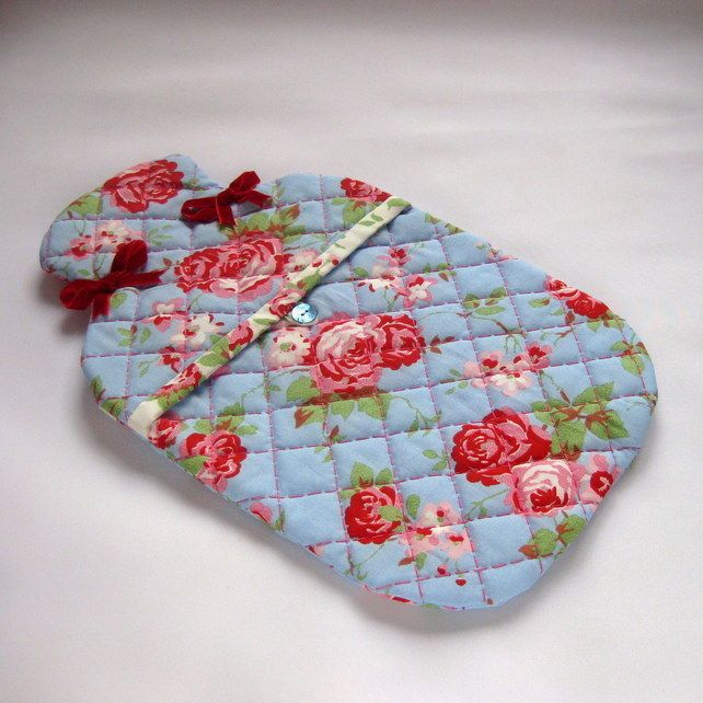 Hand Quilted Hot Water Bottle Cover in Vintage Floral Fabric £20.00