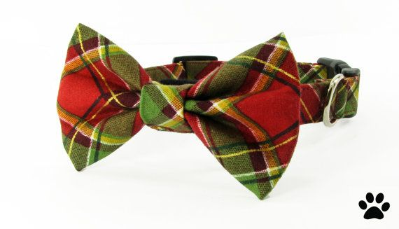 Red and green tartan plaid christmas bowtie collar set  by RHCpets
