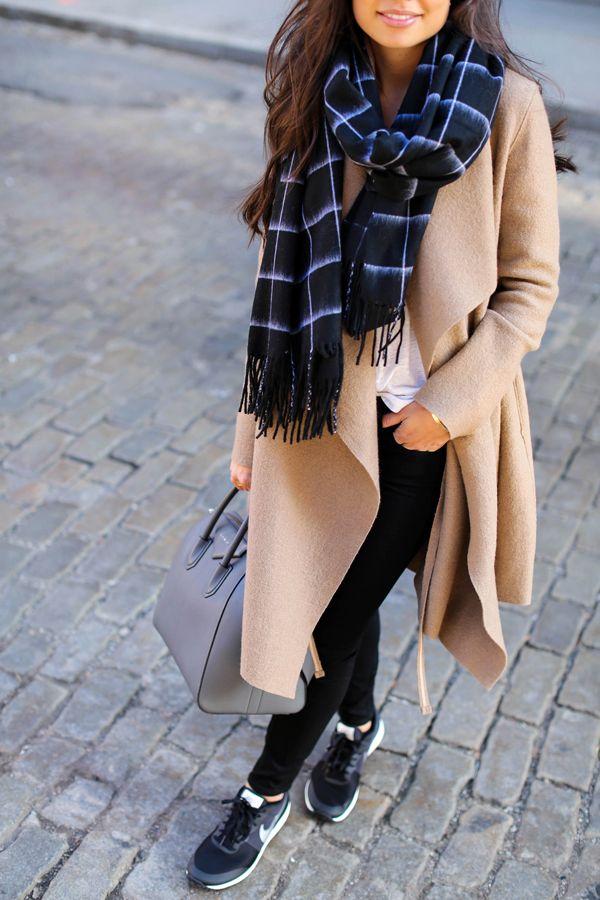 Weekend Vibes - Harris Wharf London coat // Rag  Bone scarf Paige Denim jeans // Current/Elliott tee // Nike sneakers Givenchy bag // Celine sunglasses Friday, December 11, 2015