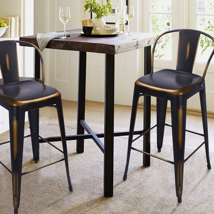 Adeco Antique Copper Metal Barstool With Back (Set Of 2) #AdecoHomeGoods