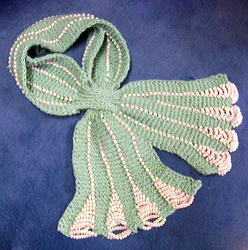 Crochet Scarf Pattern With Beads : Beaded Scarf Knitting Pattern scarf art Pinterest