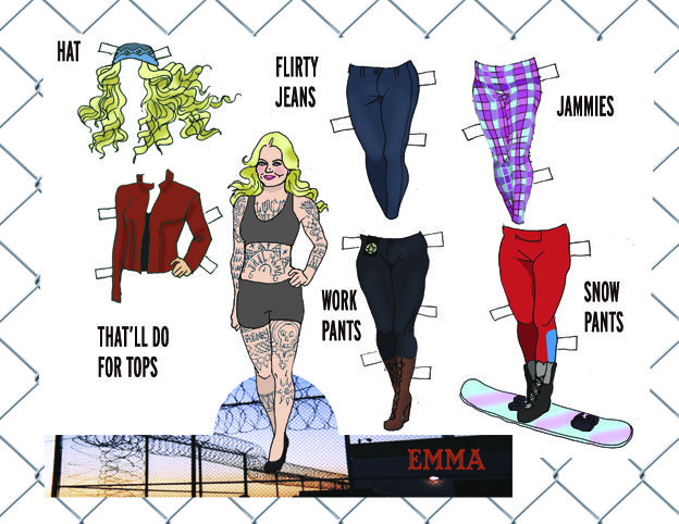 The Emma Paper Doll Collection... who knew she had so many tats? Go figure!