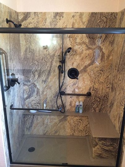Walk-In Shower with Rebath Adara Granite Wall System and Custom Bamboo Bench Seat