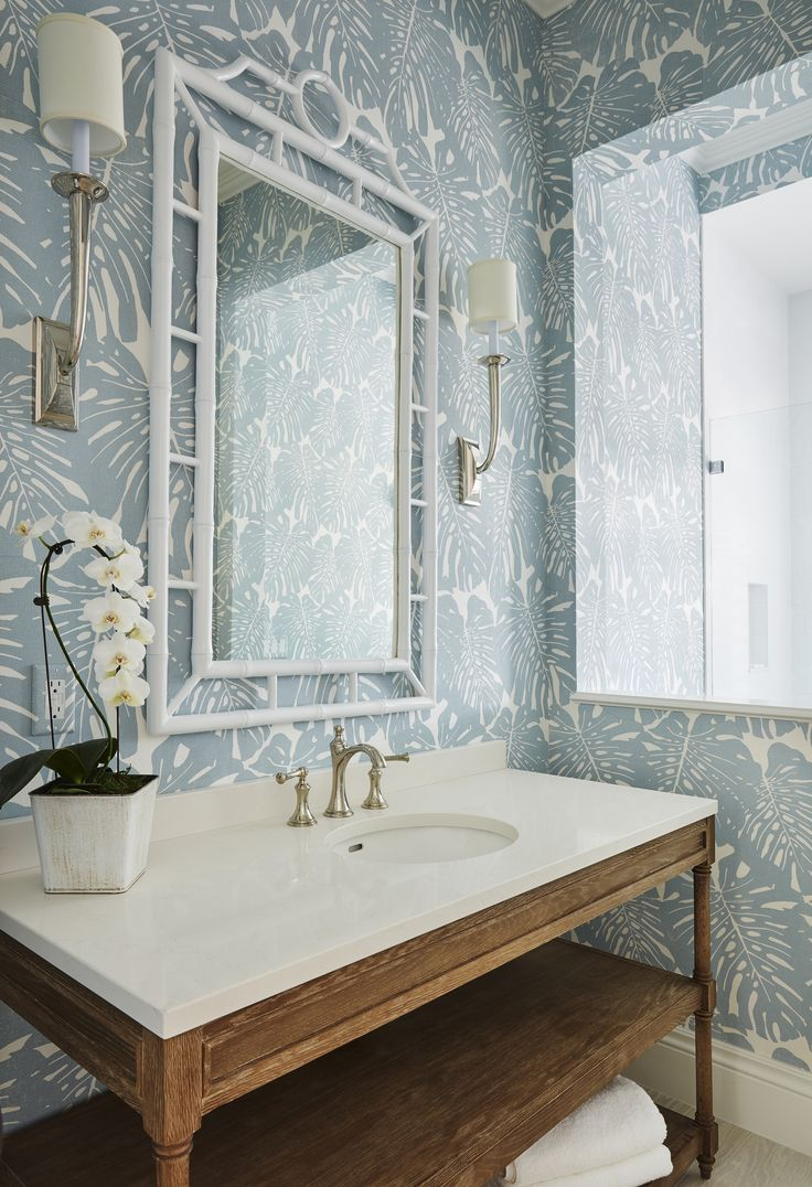Light Blue and White Palm Leaf Wallpaper paired perfectly