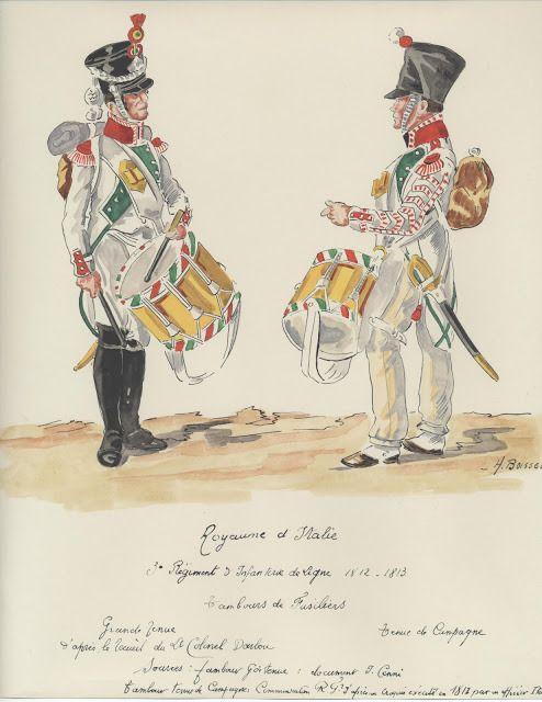 Tamburo dei fucilieri del 3 rgt. fanteria di linea del regno d'Italia