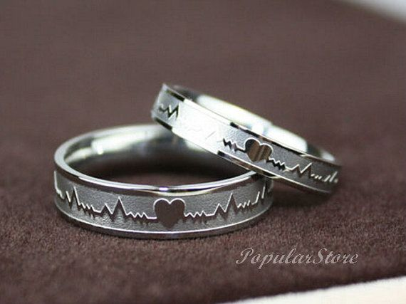 2pcs  Titanium Electrocardiogram Promise Rings, Couple Rings, Wedding Bands, Lovers Rings, Engagement Rings, Wedding Rings on Etsy, $28.99
