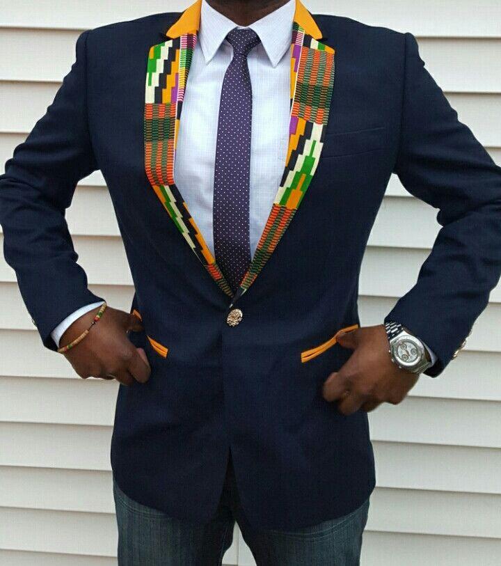 Men's Slim Fit Kente Cloth Blazer - Blue Style #3 (Hint of Purple Kente)