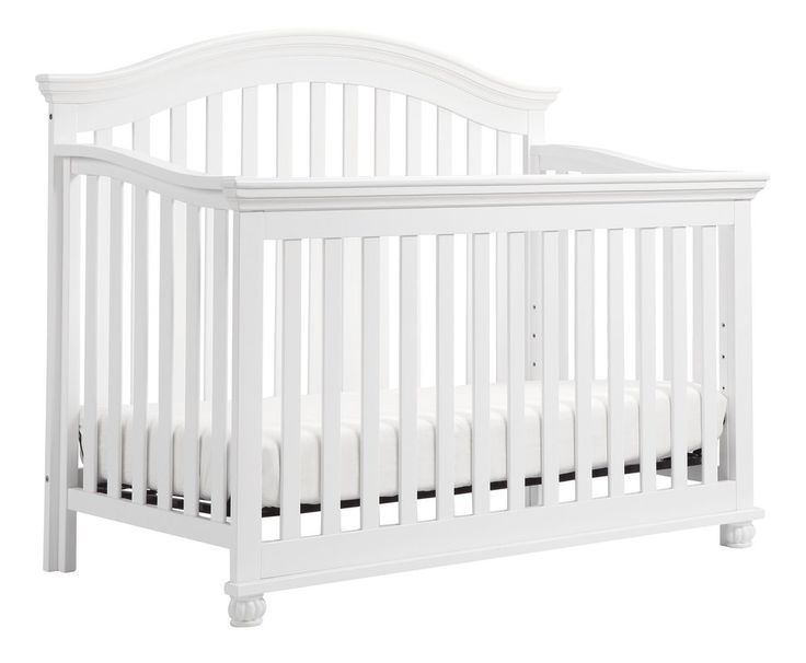 The Sherwood 4-in-1 crib pairs a gently curved back panel and simple slats with traditional turned bun feet. This classic style crib features four adjustable mattress positions and converts into a toddler bed, daybed and full-size bed.