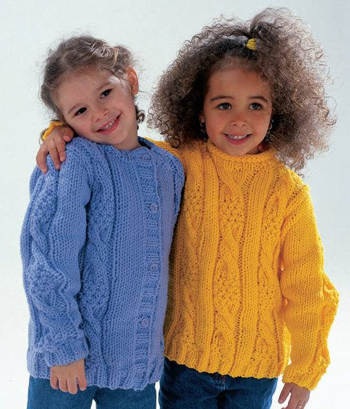 Kids Knitting Patterns Free : Cabled Sweater and Cardigan in Wendy Serenity Chunky: http://www.mcadirect.co...