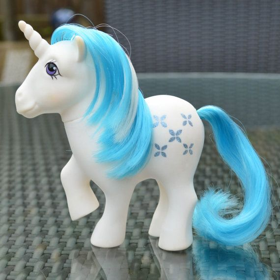 Something Blue ATCTTeam Vintage My Little Pony 'Majesty' White & Blue Unicorn by TeaJay, MLP G1 Dream Castle Star Wickstead Wicksteads