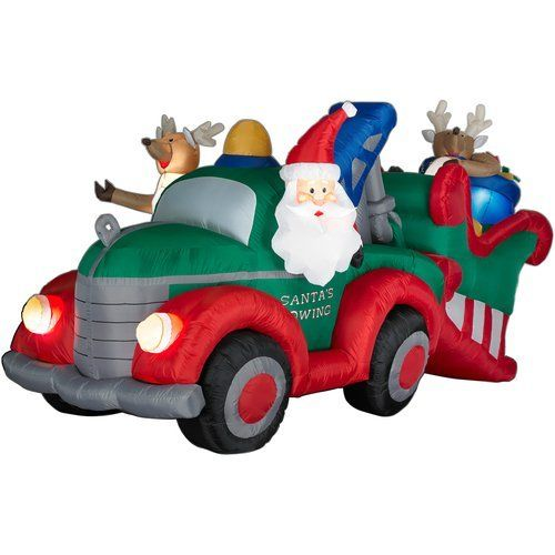 95 Amazing Outdoor Christmas Decorations: Santa Towing Sleigh 4 3/10 Ft. Animated Christmas Airblown