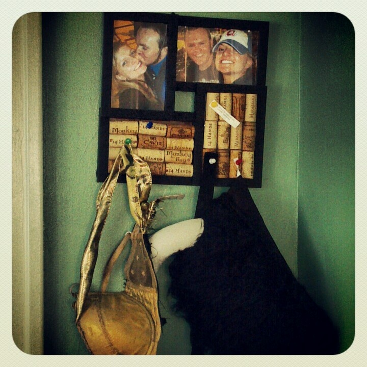 Cork board Photo Frame with Warrior Dash Costume for him...Zena Warrior Princess Bra