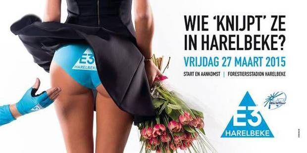 """Le grand prix de cyclismeE3 a fait le bad buzz sur Twitter à cause de l'affiche utilisée pour sa campagne de communication:  """"Qui pincera? """"dit l'affiche. En réalité, cette campagne fait référence au miment depincement que Peter Sagan, gagnant en 2013 avait effectué sur les fesses d'une hôtesse du podium de l'arrivée. Enseignements:   Sexiste au volant, bad buzz au tournant"""