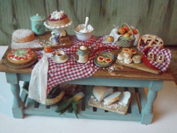 English Afternoon Tea, prepration table, dollhouse miniature handmade, 1/12 scale , dollhouse food by farmhouseminiatures on Etsy