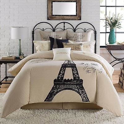 ANTHOLOGY PARIS 3PC SET, 1 KING COMFORTER 2 STANDARD SHAMS EIFFEL TOWER  BEIGE